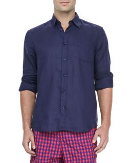 Mens Linen Long Sleeve Shirt, Navy   Vilebrequin   Navy (SMALL)