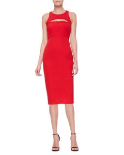 Womens Cutout Slim Sleeveless Keyhole Sheath Dress   Milly   Tomato (0)