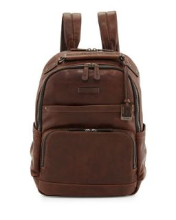 Logan Mens Leather Backpack, Dark Brown   Frye   Dark brown
