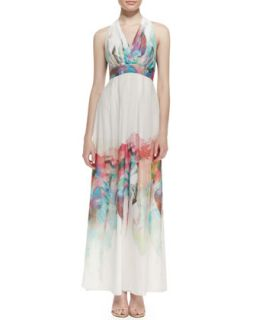 Womens Silk Watercolor Floral Print Halter Gown   Nicole Miller   Ivory multi