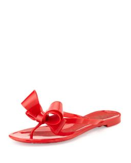 Couture Bow Jelly Flat Thong Sandal, Red   Valentino   Red (38.0B/8.0B)