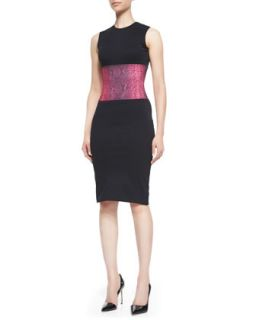 Womens Snakeskin Print Sleeveless Dress   Christopher Kane   Black/Pink (UK8/4)