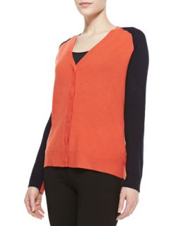 Womens Colorblock Wool Cashmere Cardigan, Fire/Navy   Halston Heritage