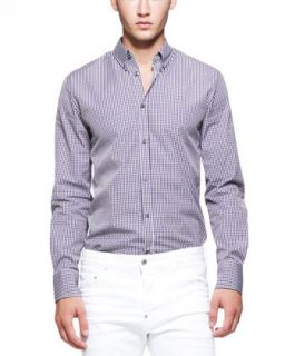 Mens Gingham Long Sleeve Shirt, Navy/Brown   Dsquared2   Navy/White (48)