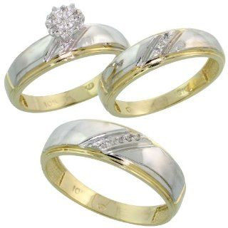 10k Yellow Gold Diamond Trio Engagement Wedding Ring Set for Him and Her 3 piece 7 mm & 5.5 mm wide 0.09 cttw Brilliant Cut, ladies sizes 5   10, mens sizes 8   14 Jewelry