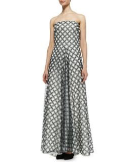 Womens Strapless Plaid Ball Gown, Black/White   Tadashi Shoji   Black/White (4)