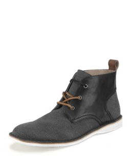 Mens Dorchester Canvas & Leather Saddle Chukka Boot   Andrew Marc   Black (13.