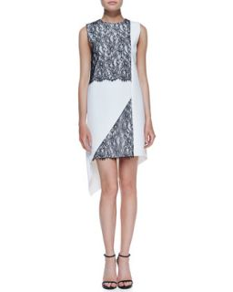 Womens Geo Lace Two Tone Dress   Robert Rodriguez   Off white (10)
