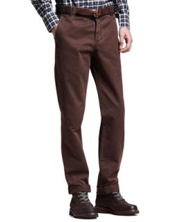 Mens Twill Six Pocket Pants, Brown   Brunello Cucinelli   Brown (40/56)