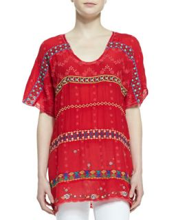 Womens Colorful Daisy Eyelet Blouse, Fiery Red   Johnny Was Collection   Fiery