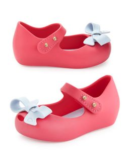 Mini Ultragirl Bow Jelly Flats, Pink, Girls Sizes 5 10   Melissa Shoes   Pink