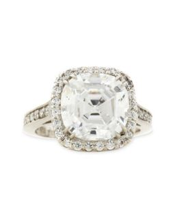Asscher Cut Cubic Zirconia Ring, 8.75 TCW   Fantasia by DeSerio   Clear (7)