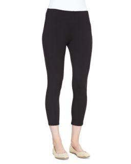 Cropped Stretch Jersey Leggings, Black, Womens   Joan Vass   Black (2X