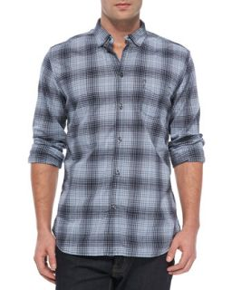 Mens Checked Long Sleeve Shirt, Navy   Diesel   Navy (SMALL)