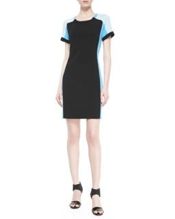 Womens Short Sleeve Colorblock Sheath Dress   DKNY   Blk/Tide/Marine (6)
