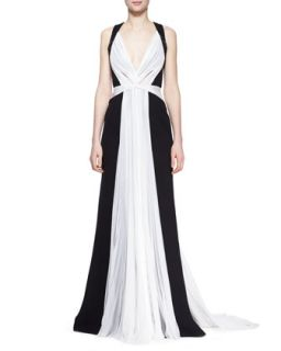Womens Two Tone Silk Gown with Beaded Embroidery   J. Mendel   Noir/Nuage (8)