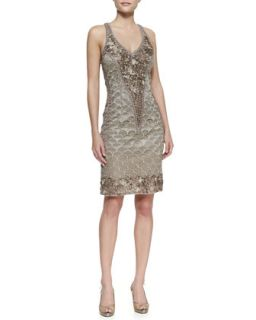 Womens Embroidered Halter Cocktail Dress, Taupe   Sue Wong   Taupe (2)