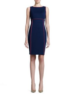Womens Milano Bateau Neck Dress, Marine Blue   St. John Collection   Marine