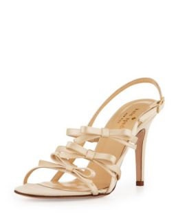 sally strappy satin bows sandal, champagne   kate spade new york   Champagne