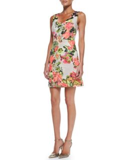 Womens Sleeveless Floral Print Cotton Dress   Kay Unger New York   Crlmlt (4)