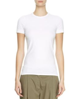 Womens Flat Cotton Short Sleeve Tee, White   Brunello Cucinelli   White (M/42)