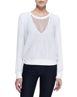 Womens Long Sleeve Mesh Bump Top, White   Pencey   White (XS)