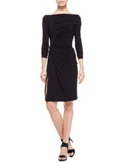 Womens Ruched Matte Jersey Dress, Black   Paule Ka   Black (40)