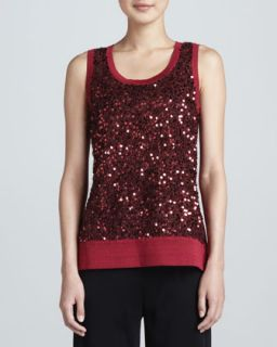 Sequined Metallic Knit Tank, Womens   Misook   Hollyhock (2X (22/24))