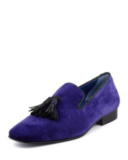 Drake Mens Velvet Tassel Smoking Slipper, Purple   Hadleighs   Purple (7.