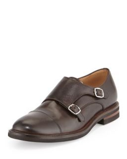 Mens Leather Monk Strap Loafer, Brown   Brunello Cucinelli   Brown (44.5/11.5D)