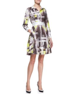 Womens long sleeve modern print shirtdress   kate spade new york   Cubnlle