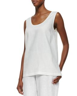 Linen Scoop Neck Tank, White, Womens   Go Silk   Ivory (2X (20 22W))