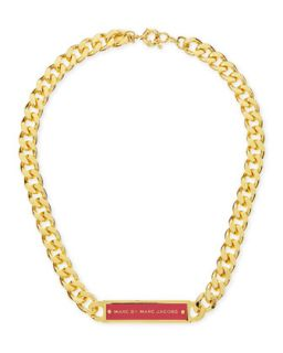 Chunky Enamel ID Necklace, Pink/Golden   MARC by Marc Jacobs   Hot pink
