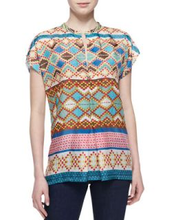 Mixed Print Silk Short Sleeve Blouse, Womens   Johnny Was Collection   Multi a