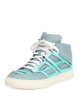 Mens Iridescent Metallic Plate High Top, Teal   Alejandro Ingelmo   Teal (11.