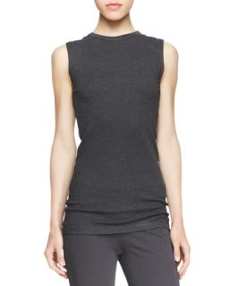 Womens Sleeveless Ribbed Knit Tee   Brunello Cucinelli   Volcano (L/8)