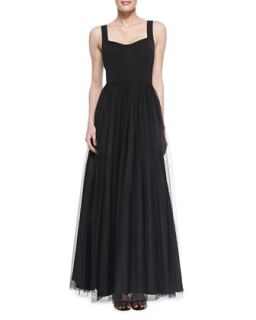Womens Sleeveless Sweetheart Tulle Ball Gown, Black   Aidan Mattox   Black (0)