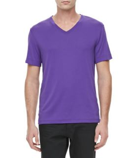 Mens V Neck Short Sleeve Tee, Purple   Ralph Lauren Black Label   Purple
