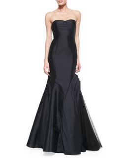 Womens Strapless Trumpet Gown with Side Tulle Inset   ML Monique Lhuillier