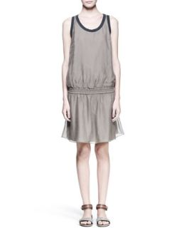Womens Sleeveless Drop Waist Dress   Brunello Cucinelli   Military (L/44)