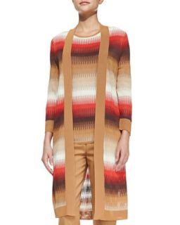 Womens Long Open Front Ombre Cardigan   Magaschoni   Multi colors (LARGE12 14)