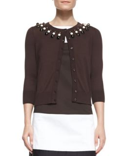 Womens rio embellished neck cardigan   kate spade new york   Bittersweet