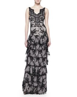Womens Powell Sleeveless Tiered Lace Gown   Alice + Olivia   Black/Sesame (0)
