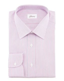 Mens Multi Stripe Dress Shirt, Pink   Brioni   Pink (15 1/2L)