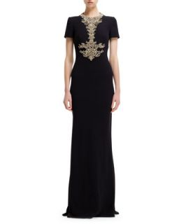 Womens Jewel Encrusted Neck Short Sleeve Gown   Alexander McQueen   Black