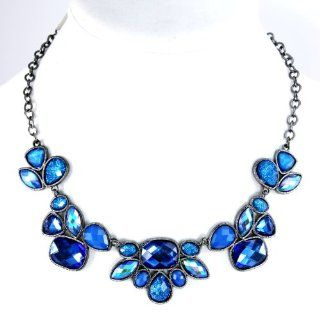 Style&co. Necklace, Hematite Tone Blue Bead Frontal Necklace Jewelry
