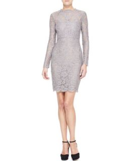 Womens Long Sleeve Lace Sheath Dress, Lilac Gray   Valentino   Lilac gray (10)