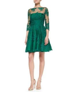Womens 3/4 Sleeve Lace Illusion Cocktail Dress   ML Monique Lhuillier