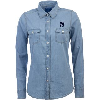 Antigua New York Yankees Womens Chambray Long Sleeve Button Up Woven Shirt