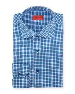Mens Woven Check Dress Shirt, Bright Blue   Isaia   Blue (17 1/2)